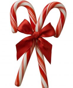 Closeup of two candy canes with red bow